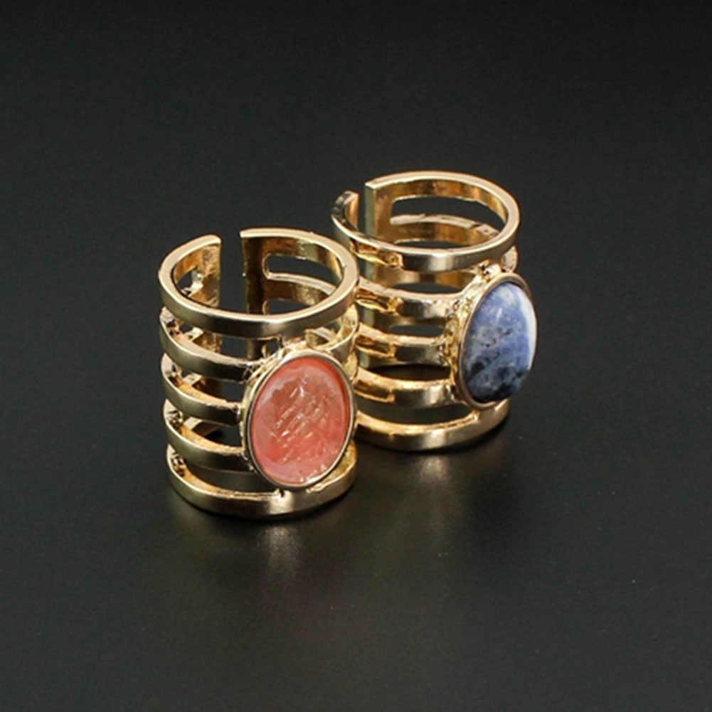 Druzy 1 PC หินธรรมชาติ Quartz คริสตัลแหวนคริสตัล Drusy สีฟ้าสีขาวสีม่วง Drop ดิบหินงานแต่งงานแหวนหญิง