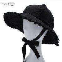 Faltbare Baumwolle Strand Sonnenhüte Für Frauen Mode-Design Frauen Faltbare Krempe Stroh Hut Plissierte Atmungsaktive Outdoor Kappe