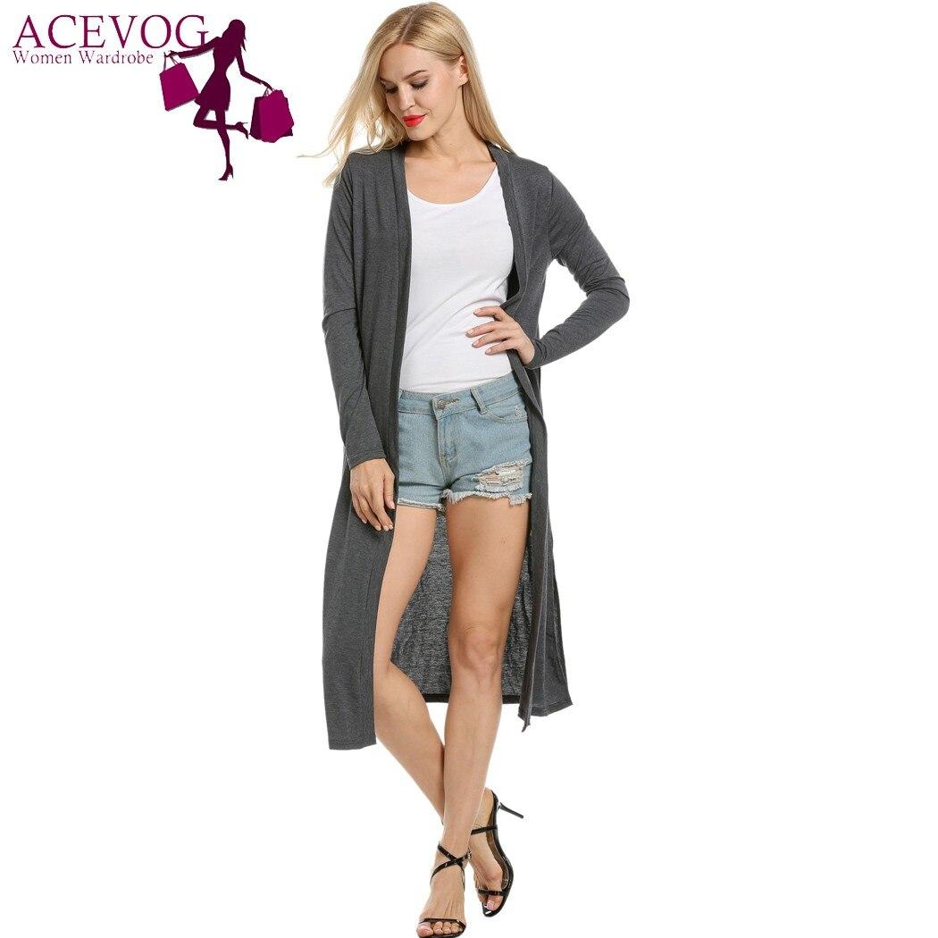 ACEVOG Long Maxi Cardigan Women Casual Long Sleeve Autumn Solid ...