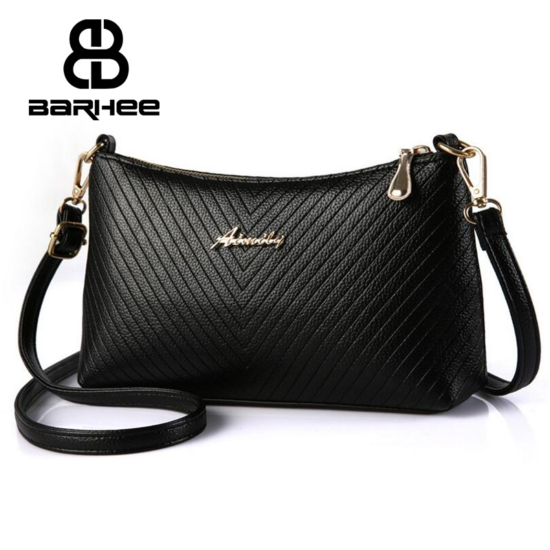 BARHEE Embossed Strip Women Shoulder Bag Small Hobo Handbag PU Leather High Quality Messenger Bags for Ladies with two strap