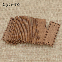 Lychee 20pcs Classic Brown Artificial PU Leather Garment Tags Label DIY Craft Sewing Bag Pants Decor Cloth Markers