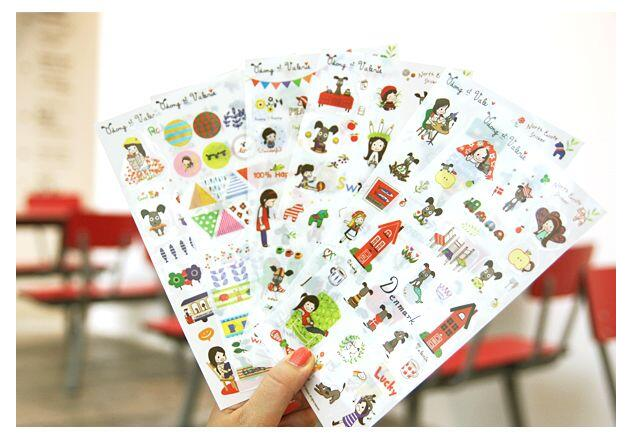 6sheets/pack Girl And Small Dogs Story Stickers /scrapbook Diary Deco Stickers/Decorative Items/School Stationery SuppliesWJ0587