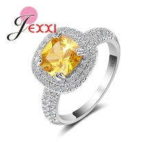 JEXXI 925 Sterling Silver Ring For Women Fashion Square Yellow Cubic Zirconia Engagement bands Propsal Rings Jewelry Accessory