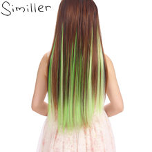 """Similler 24 """"прямой Одна деталь 5 клип в наращивание волос Длинные Синтетические парики 7 цветов"""