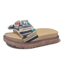 Summer Slippers Women Indoor Outdoor Beach Cork Sandals Ladies Slides Woman Bow Female Home Platform Slipper chanclas de mujer