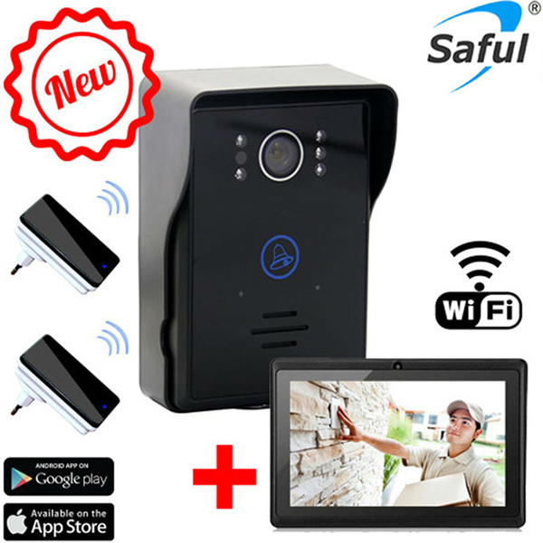 Saful touch key wifi video door phone motion detection video doorbell intercom with 2 dingdong doorbells ios/android app support 2015 free shipping wifi video door phone door bell intercom systems app can be run in android and ios devices