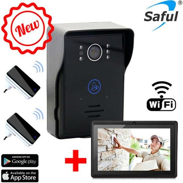 touch key motion detection video doorbell intercom with 2 dingdong doorbells ios/android app support wifi video door phone