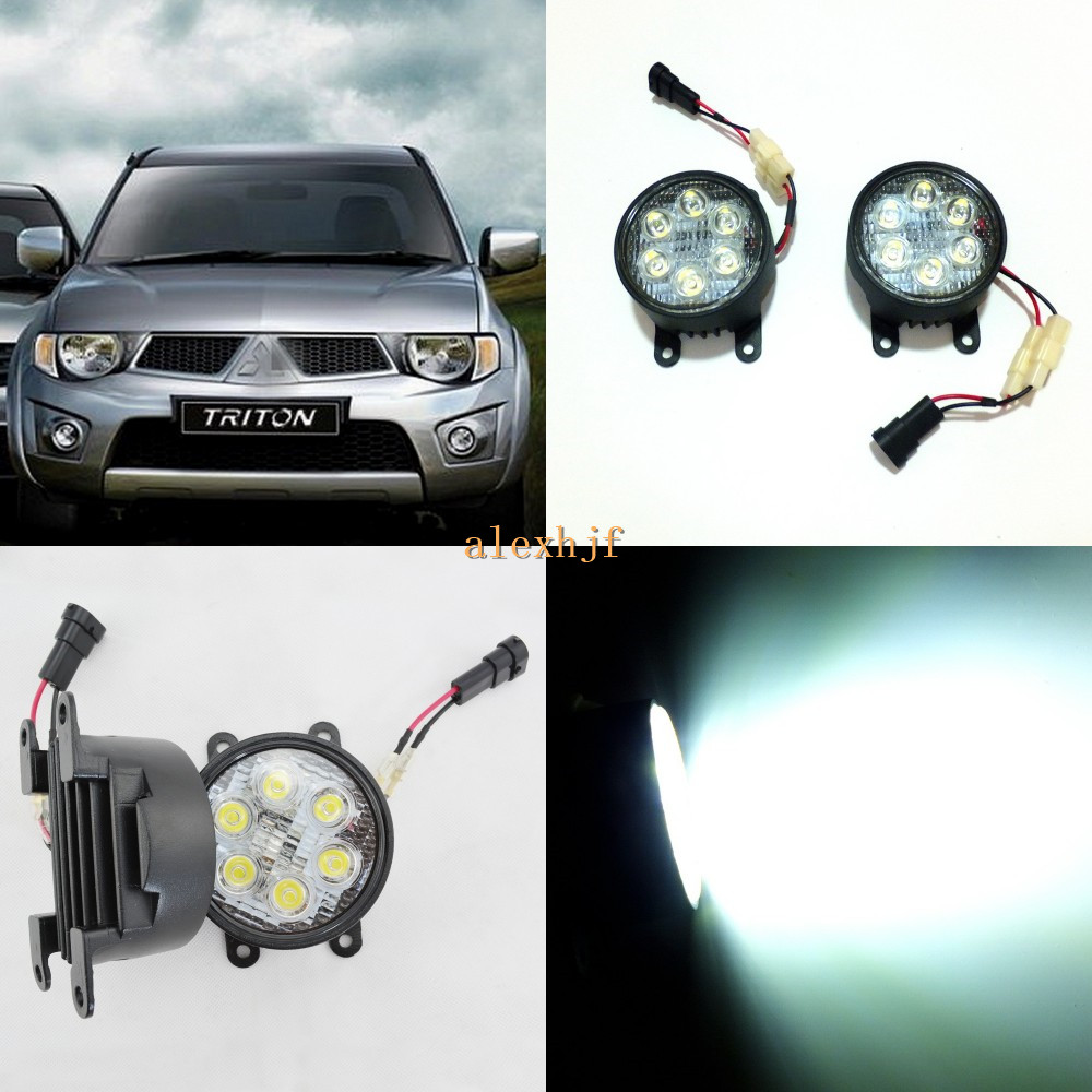 July King 18W 6LEDs H11 LED Fog Lamp Assembly Case for Mitsubishi  L200 Triton 2008~ON etc, 6500K 1260LM Daytime Running Lights july king 18w 6leds h11 led fog lamp assembly case for nissan x trail 2014 on rouge 2008 2011 2014 on 6500k 1260lm led drl