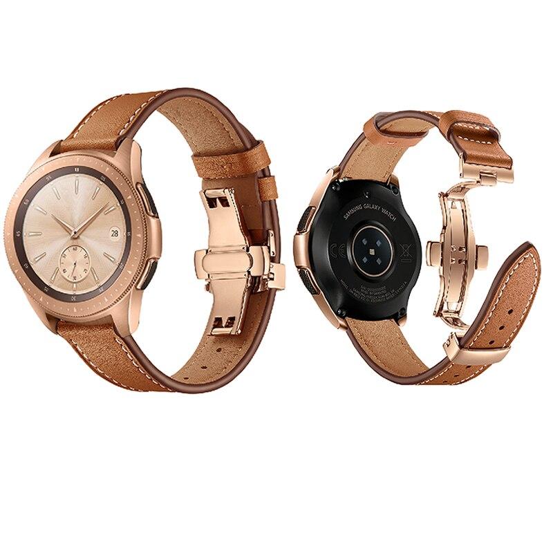 Date en cuir véritable Sas pour Samsung Galaxy montre 46mm en acier papillon montre bracelet bande Gear S3 classique frontière Huawei montre - 3