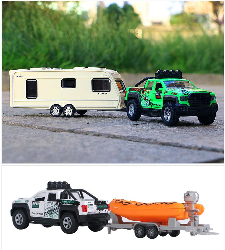 High Simulation Pickup Truck Rv,1:36 Scal Alloy Pull Back Trailer, Yacht Cars,musical&flashing,collection Model,free Shipping