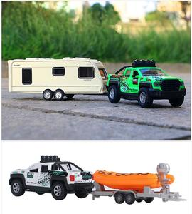 High simulation Pickup truck rv,1:36 scal alloy pull back Trailer, yacht cars,musical&flashing,collection model,free shipping(China)