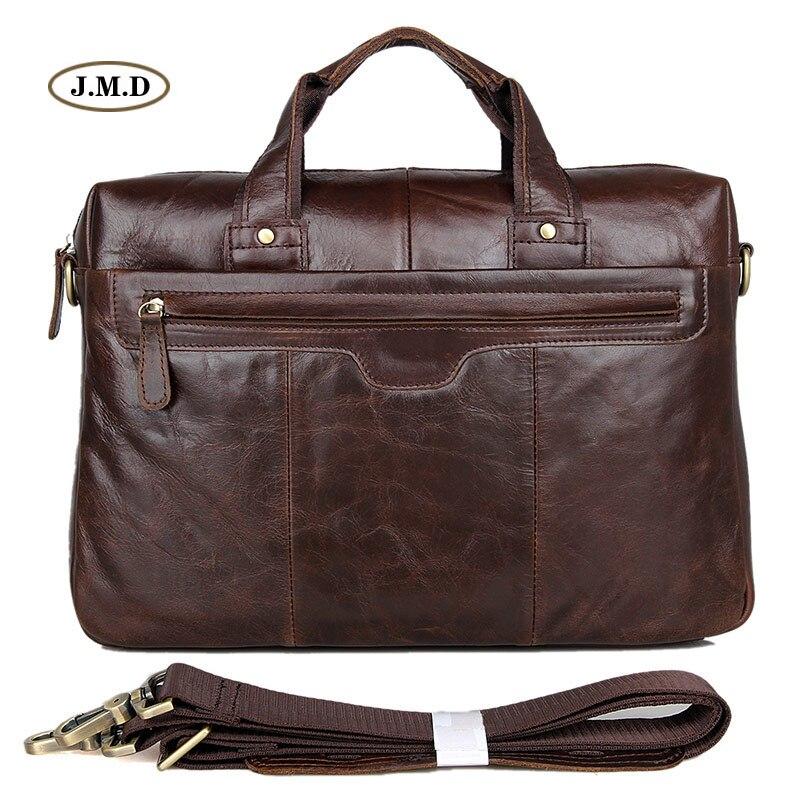 Augus Genuine Vintage Leather Male Fashion Chocolate Color Handbag Laptop Bag Messenger Bag Men's Business Briefcase 7075LC