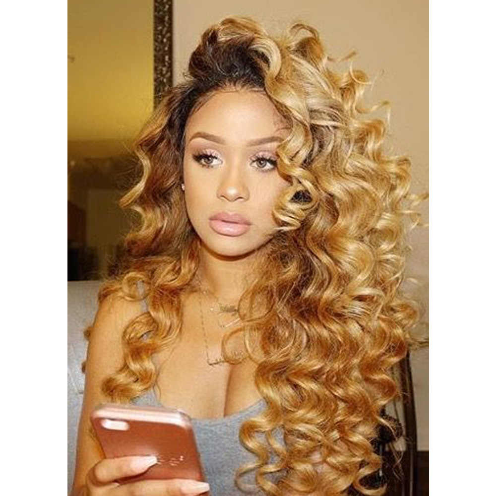Colored 180 Density Ombre Human Hair Lace Front Wig With Baby Hair Curly 1b 27 Dark Roots Honey Blonde Remy Wigs For Black Women