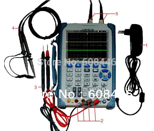 Hantek 5in1 Handheld Scopemeter Oscilloscope DMM DSO AWG Multimeter DSO8060 600MHz hantek handheld isolated oscilloscope scopemeter 120mhz 1gs s 2m memory