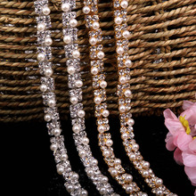 1 Yard 1.1 cm Square Pearl Crystal Rhinestone Trims Chain Applique for Wedding Dress Bag Trimmings Sewing Crafts