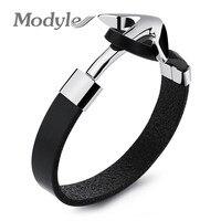Modyle Vintage Leather Bracelet Stainless Steel Anchor Bracelet Punk Rock Men Jewelry Accessories Pulseras