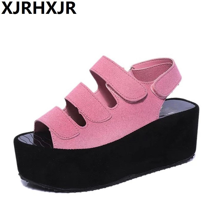 XJRHXJR 2017 New Women Platform Sandals Pink Black Grey Women Gladiator Sandals Fashion Hook Loop Wedge Shoes Woman Size 35~40 polar loop 2 pink