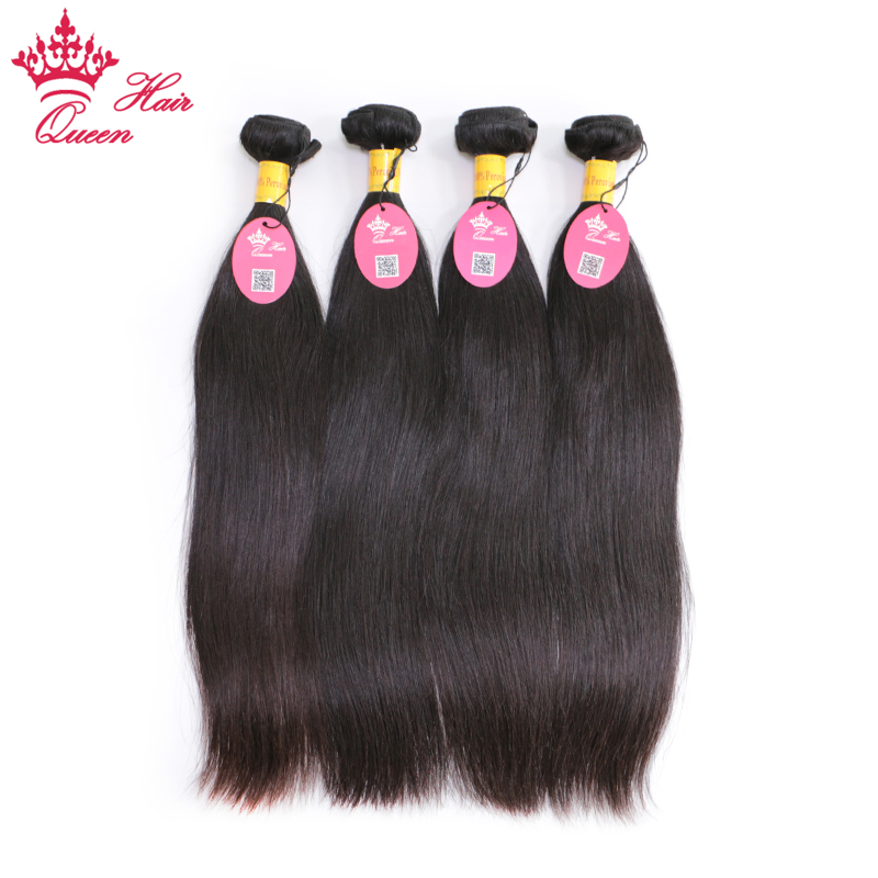 Queen Hair Peruvian Virgin Straight Hair 4pcs/lot 100% Human Hair Weaves Bundles Unprocessed Hair Weft Shipping Free