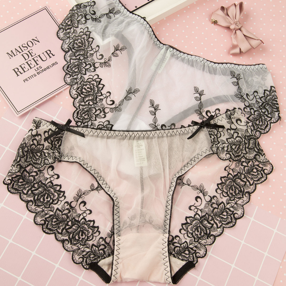 Elegant french lingerie promotion shop for promotional elegant french - Shitagi France Embroidery Lace Panty Thong Breathable Mesh Briefs Floral Lace Panty Transparent Sheer Underwear Women Briefs