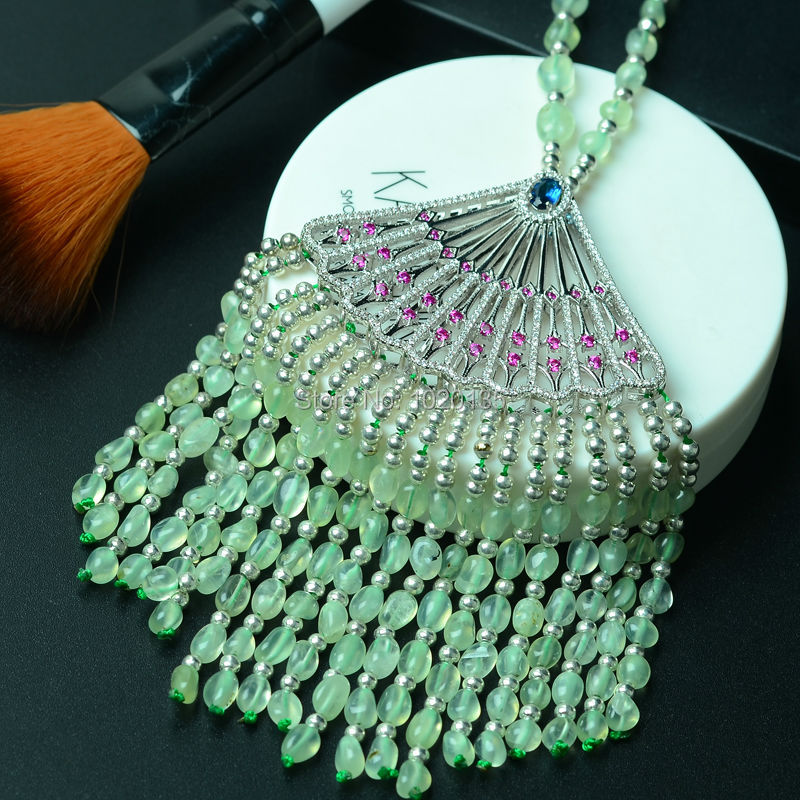 prehnit green baroque 4-6mm necklace 26inch wholesale beads nature gift discount FPPJ wholesale 1 4 2v3a
