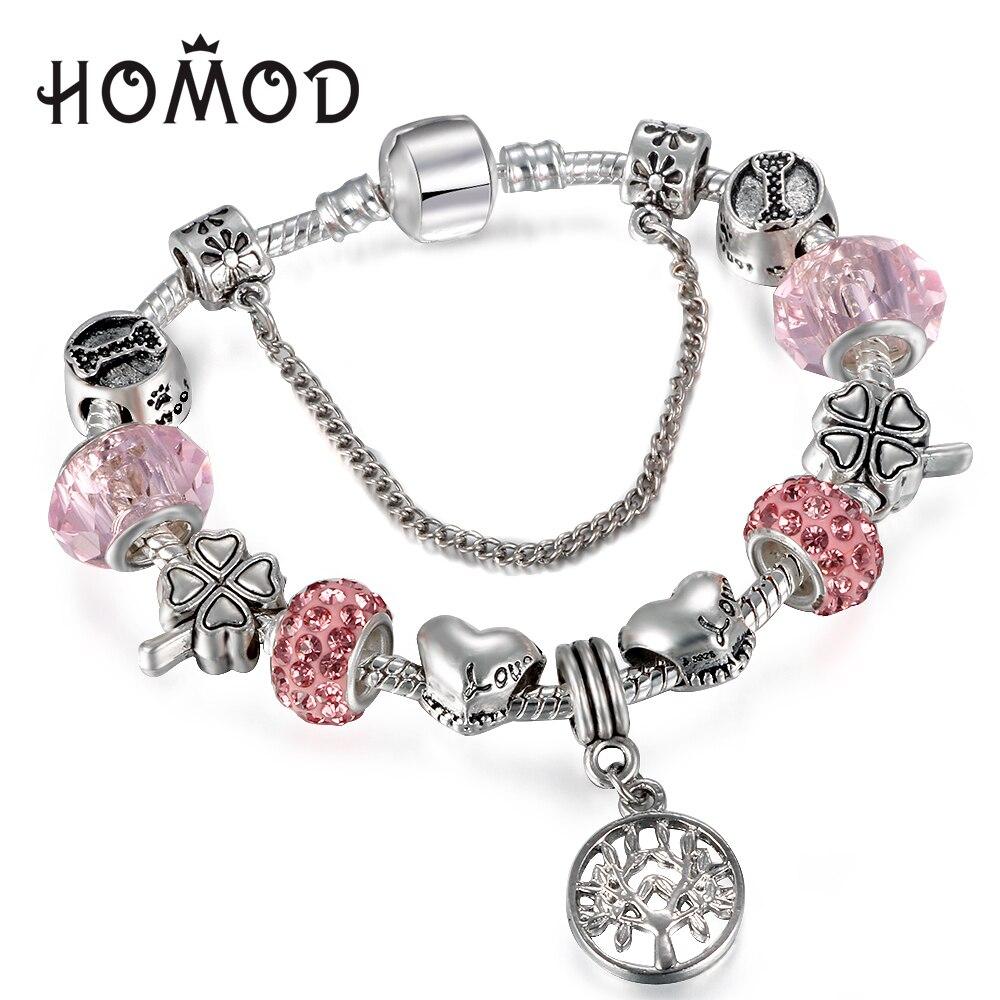 Homod Vintage Silver Charm Bangle & Bracelet With Tree Of Life Pendant &  Pink Crystal Ball
