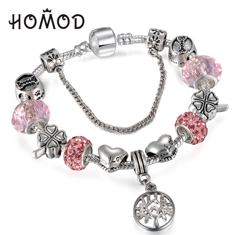 HOMOD Vintage Silver Charm Bracelet with Tree of life Pendant & Pink Crystal Ball Fits Brand Bracelet For Women Party Jewelry