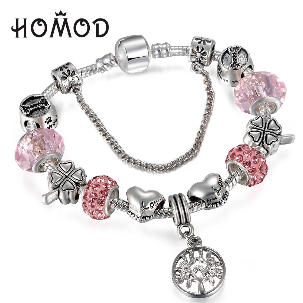 HOMOD Vintage Silver Charm Bracelet con Tree of life Colgante y Pink Crystal Ball Fits Pandora Bracelet Para Mujeres Joyería Del Partido