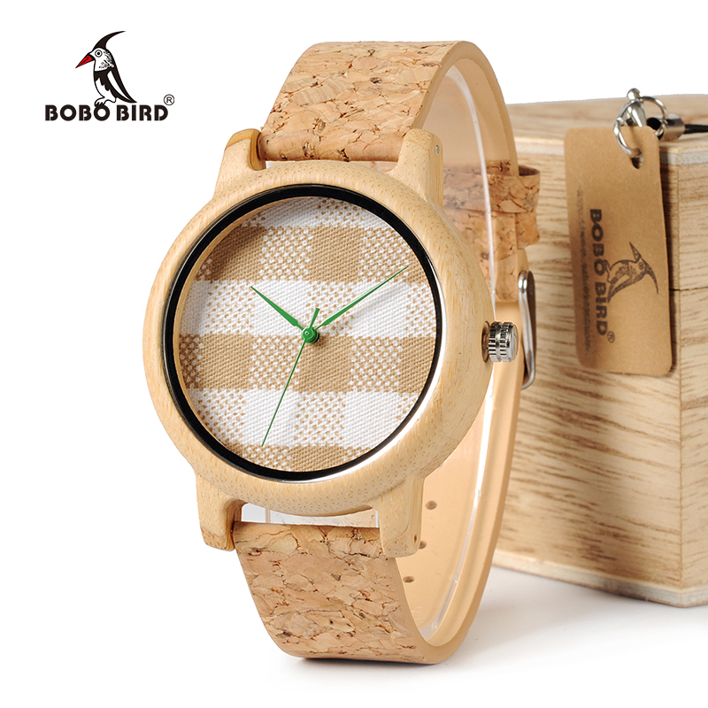 BOBO BIRD WA28 Vintage Round Ladies' Bamboo Wood Quartz Watches With Fabric Dial Women Watches Top Brand Pastoralism Watch