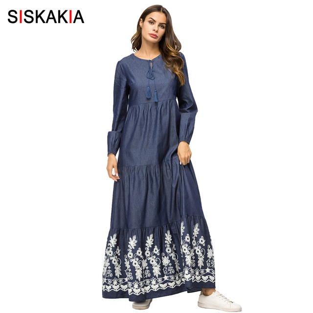 aa643ad578499 US $42.25 |Siskakia Denim Long Dress Spring 2019 Women Maxi Dresses Fashion  Draped Patchwork Design Arab UAE Mauritius Clothes Long Sleeve-in Dresses  ...