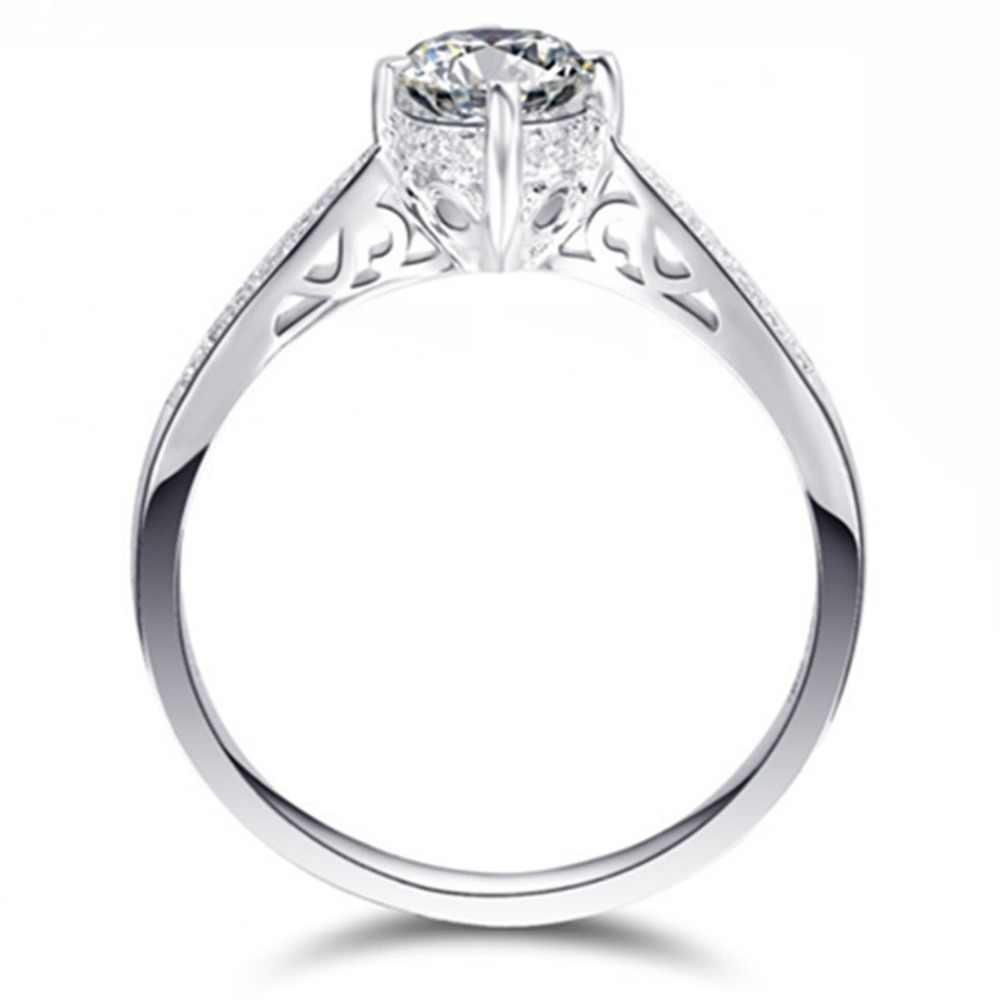 Venta al por mayor de joyería 0.5ct hueco 4Prongs SONA anillo de diamante simulado compromiso mujeres plata esterlina joyería platino anillo PT950
