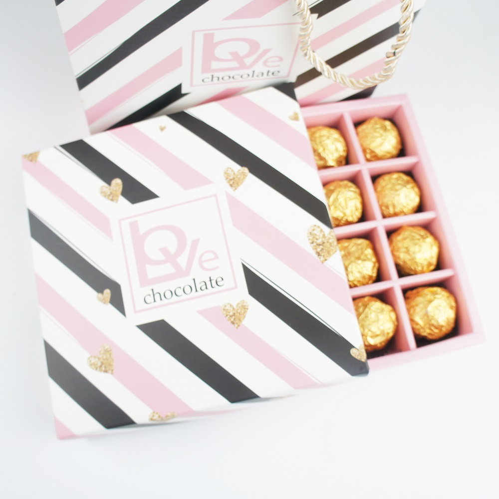 5 Set Pink Gold Love Design Choclate Candy Paper Box As Party Gift Packaging Wedding Christmas Favor Use Storage Boxes