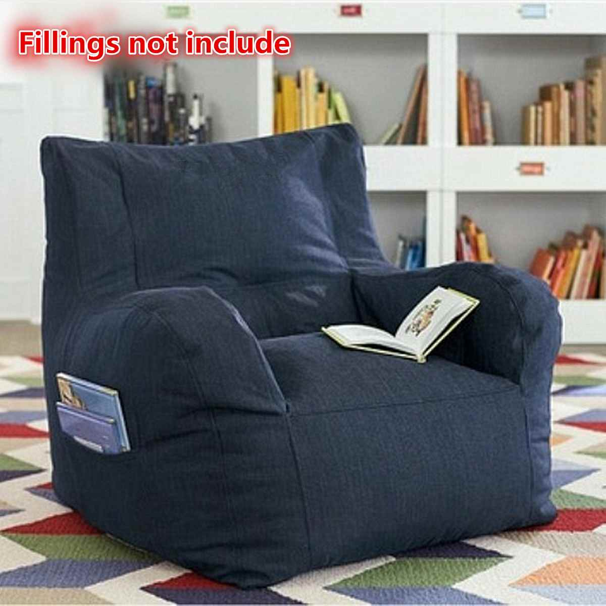 Large Bean Bag Sofa Cover Lounger Chair Sofa Living Room Bedroom Furniture Without Filler Beanbag Bed Couch Lazy Tatami