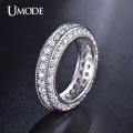 UMODE Hot Wedding 2mm 0.03 Carat Round CZ Rhodium Plated Simulated Diamond Eternity Ring Bands Jewelry for Women 2016 UR0280