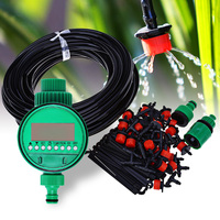 25m DIY Micro Drip Irrigation System Plant Self Automatic Watering Timer Garden Hose Kits With Adjustable