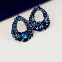 2019 Popular Women CZ Imitation Diamond Crystal Sapphire Style Waterdrop Stud Earrings