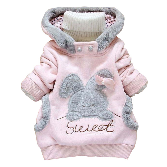 New Fashion Toddler Baby Lovely Hooded Sweatshirts Children Girls Sweet Cartoon Rabbit Cashmere Sweater Hoody Kids Tops Clothing