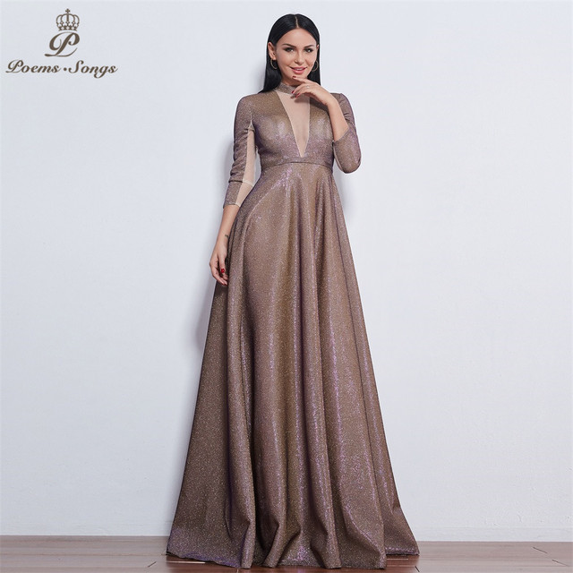 Poems Songs 2019 New style reflective dress beautiful colorful Long sleeve Evening Dress prom gowns  Formal Party dress