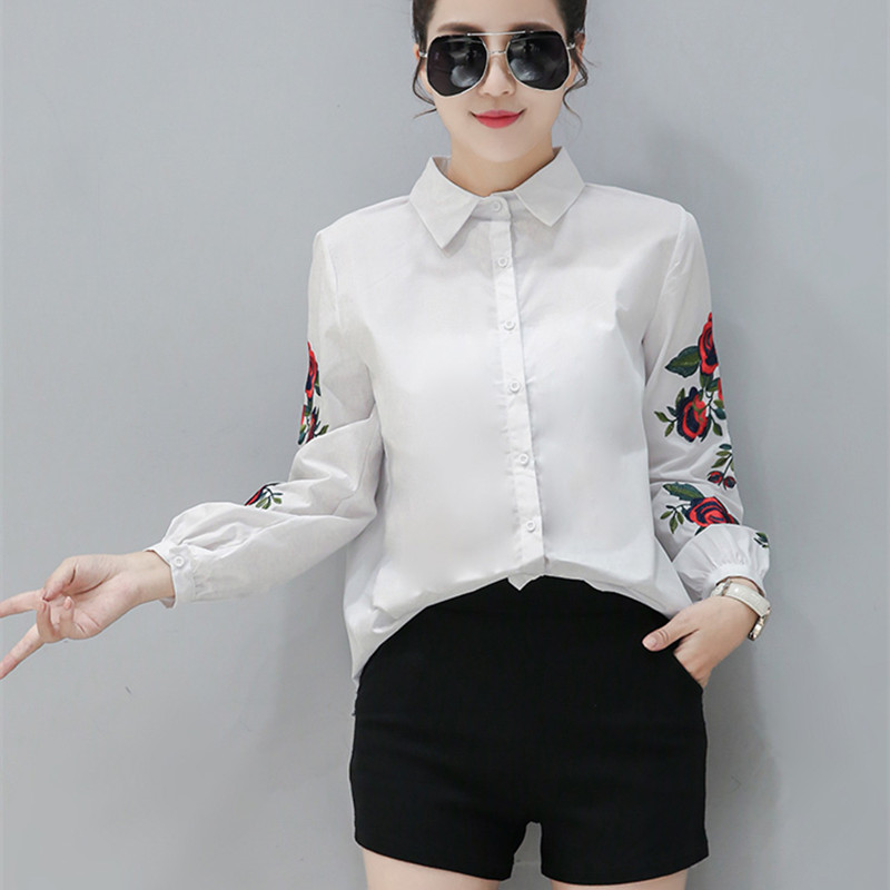 b6ba42ac1e92 2018 New Spring Women Long Sleeve Blouse Rose Floral Embroidery Work Shirts  Women Office White Tops Ladies Blue Striped Blouses-in Blouses   Shirts  from ...