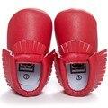 Romirus mocasines moccs borlas recién nacido del bebé zapatos inferiores suaves para niños bebés y niños pequeños zapatos de cuero de la pu-rojo