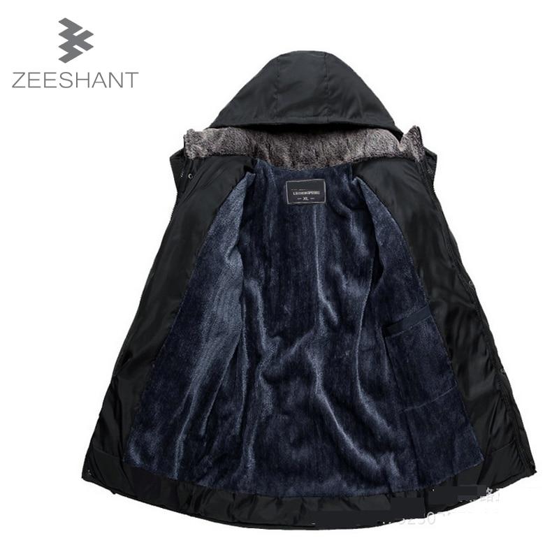 ZEESHANT XL XXL Kapşonlu Polar Sıcak Erkek Kış Ceket Siyah Ceket Giubbotti Uomo Inverno Moleton Masculino Parka Uomo