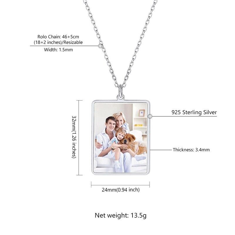 U7 100% 925 pingente de prata esterlina & corrente gravado personalizado foto dia das mães/presentes do pai na moda jóias sc82 - 3