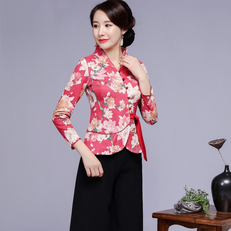 Vintage femmes amélioration fleur Tang vêtements Sexy Slim à manches longues chemise automne imprimé Blouse Style chinois vêtements grande taille 4XL - 6