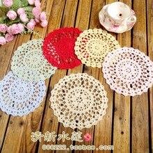 ZAKKA Handmade 18cm Round flower Lace Doilies Crochet Coaster Table Place mats cup mat 10pcs/Lot
