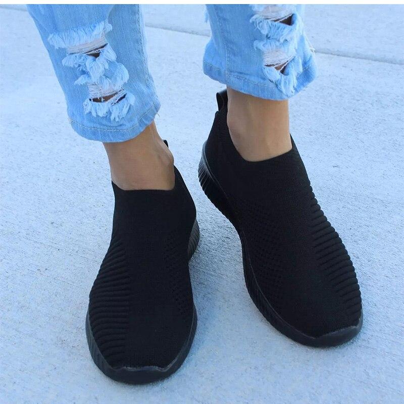 Kobiety buty Knitting skarpety trampki Plus Size43 moda kobiety Vulcanize buty damskie buty sportowe z siatką przepuszczającą powietrze płaskie Casual