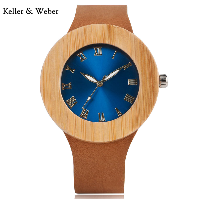 e001cf3f0fb KW 2018 Women s Blue Face Dial Design Top Brand Luxury Wooden Bamboo  Watches With Real Leather Quartz Watch Relogio Feminino
