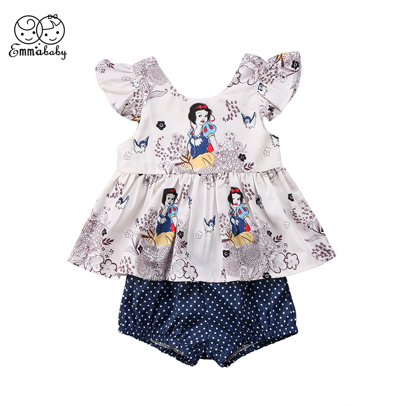 Snow White Newborn Toddler Kids Girl Cartoon Clothes Tutu T-shirt Tops+Dots Shorts Hot Pant 2PCS Outfits Summer Clothes 2pcs children outfit clothes kids baby girl off shoulder cotton ruffled sleeve tops striped t shirt blue denim jeans sunsuit set