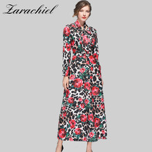 c4941b12c70 2019 Runway Designer Maxi Dresse Women s Long Sleeve Leopard Print Rose  Floral Elegant Bow Collar Long Dress Party Holiday Dress