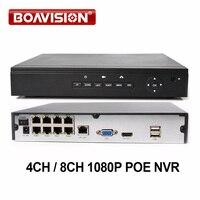 BOAVISION PoE NVR 4Ch 8Ch 1080P 48V POE CCTV NVR For 720P 2MP IP Camera POE
