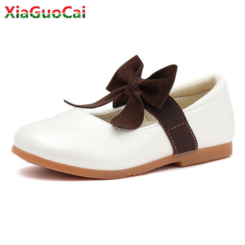 Girls Pu Leather Princess Shoes Bow Dance Performance Slip-on Breathable Fashion Children Kids Party Flat School Shoes A60 10