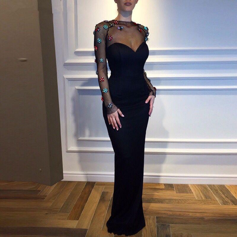 Black Muslim Evening Dresses 2019 Sheath Long Sleeves Pearls Islamic Dubai Kaftan Saudi Arabic Long Formal Evening Gown